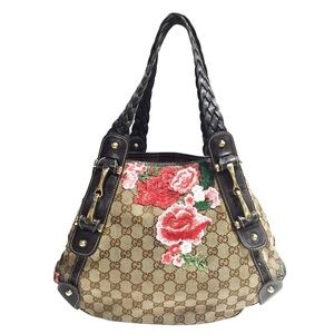 Gucci brown monogram canvas floral Pelham handbag